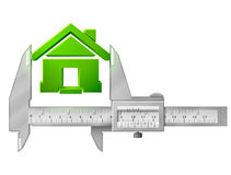 轮尺测量房子标志 免版税库存照片