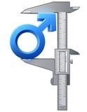 轮尺测量男性标志 免版税库存图片