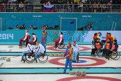 轮椅卷曲 免版税库存照片