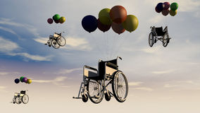 轮椅和天空 免版税库存图片