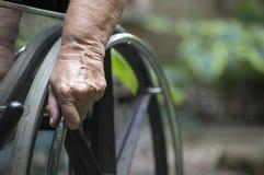 轮椅特写镜头 免版税库存照片