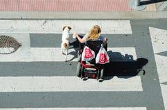 轮椅的一名妇女 库存图片