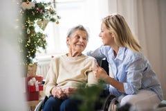 轮椅的一名资深妇女有健康访客的在家圣诞节打过工的 免版税库存照片