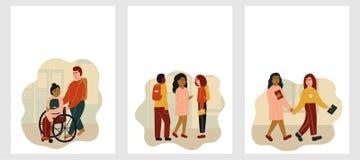 轮椅的女孩,儿童谈话 明信片或海报与空间文本的 r r 皇族释放例证