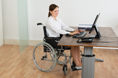 轮椅的女实业家,当研究计算机时 库存图片