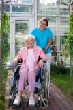 轮椅的微笑的愉快的年长夫人 免版税库存图片