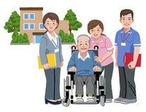 轮椅的快乐的年长人有他的护理照料者的 库存例证