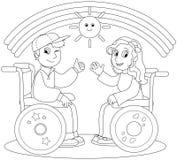 轮椅的愉快的少年 库存图片