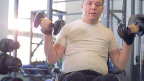 轮椅的有残障的人解决与在健身房的哑铃的 股票录像
