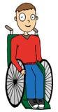 轮椅的残疾男孩 免版税库存图片