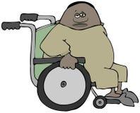 轮椅的胖的男性患者 免版税库存图片