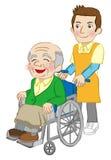 轮椅老人和照料者,白色背景 向量例证
