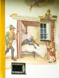 轮渡房子被绘的传说墙壁 免版税库存图片