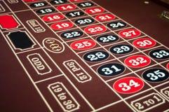 轮盘赌感觉与黑色和红色编号的桌面 免版税图库摄影