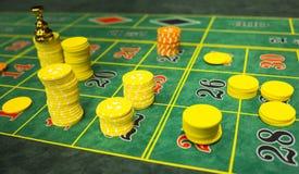 轮盘赌桌芯片 库存照片