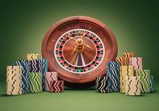 轮盘赌的赌轮芯片 免版税库存照片