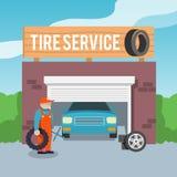 轮胎服务海报 库存图片