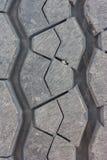 轮胎表面的踩穿戴通过使用汽车 库存照片