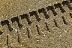 轮胎跟踪在沙子的印刷品在海滩 免版税图库摄影