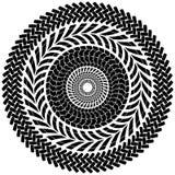 轮胎轨道刷子无缝的边界圈子传染媒介 免版税库存图片