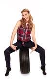轮胎贸易的圣诞节问候 免版税库存图片