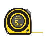 轮赌建筑工具,黄色措施磁带,在平的样式 库存照片