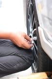 轮车的被修理的设备 免版税库存图片