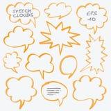 轮廓色_讲话云彩和泡影设计元素 库存图片