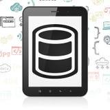 软件概念:有数据库的片剂计算机在显示 免版税库存照片