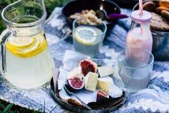 软制乳酪乳酪与无花果,果子,酸奶,面包,柠檬水的组合 免版税图库摄影