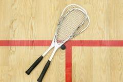 软式墙网球和球顶视图 库存照片