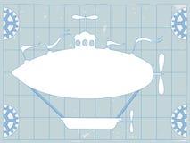 软式小型飞艇蓝色copyspace幻想打印 免版税库存图片