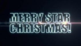 软的与发光的轻的光学火光动画的蓝色激光霓虹快活的星圣诞节文本在新黑的背景- 影视素材