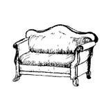 软的古色古香的休息室传染媒介 免版税库存照片