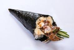 软的壳螃蟹手卷Temaki 库存照片