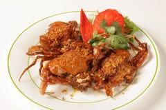软的壳螃蟹用大蒜和胡椒 免版税库存照片
