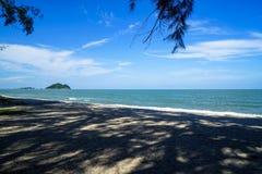 软的抽象树树荫风景风景和在沙子的阴影样式靠岸与小鼠和猫海岛,蓝天背景 图库摄影
