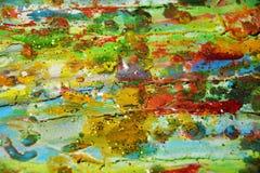 软的泥泞的水彩绿色橙黄背景 免版税库存照片