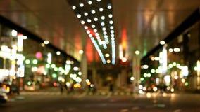 软的焦点-六本木交叉点市中心夜视图  股票录像