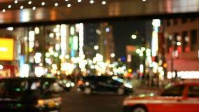 软的焦点-六本木交叉点市中心夜视图  股票视频