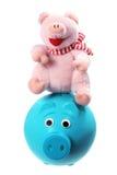 软的玩具和Piggybank 库存照片