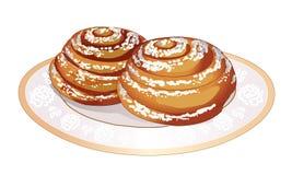 软的甜小圆面包,螺旋地滚动,和洒与在板材的搽粉的糖 新鲜的烤饼 烹调 对茶的点心 向量 库存照片