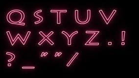 软的眨眼睛的和闪烁的霓虹字体在背景和数字隔绝的所有信件-新的质量动态动画片 向量例证