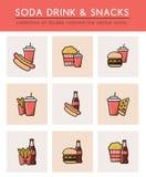 软的苏打饮料和另外快餐 向量例证