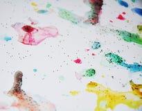 软的闪耀的蜡状的生动的柔和的淡色彩察觉水彩被弄脏的蜡状的金斑点五颜六色的颜色,刷子, backgrounnd冲程  免版税库存图片