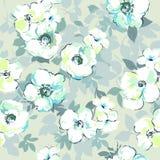 软的水彩喜欢花卉图案-无缝的背景 库存照片