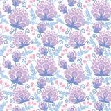 软的紫色开花无缝的样式背景 免版税库存照片
