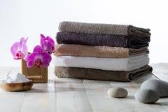 软肥皂和发面苏打自然洗涤物和清洁的 库存图片
