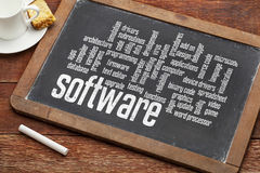 软件在黑板的词云彩 库存图片