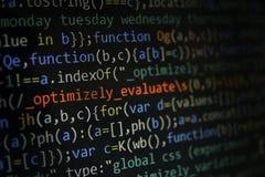 软件开发商编程的代码屏幕  计算机 库存照片